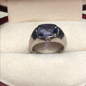 6x10 mm 14 kt WG and diamond Iolite ring, 5.5